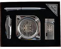 Набор подарочный мужской элитный Украина пепельница/нож/ручка/зажигалка 4В1 AL117