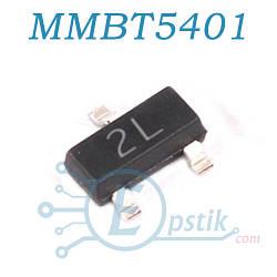 MMBT5401, (2L), транзистор биполярный PNP, 160В, 0.5A, SOT23