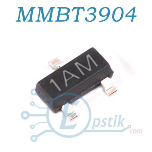 MMBT3904, (1AM), (2N3904), транзистор биполярный NPN, 40В 0.2А SOT23