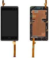 Дисплей (LCD) HTC Desire 600 Dual Sim / 606w с сенсором черный + рамка