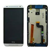 Дисплей (LCD) HTC Desire 601 Dual Sim с сенсором черный + рамка белая