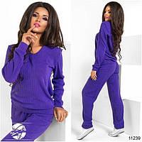 Женский теплый спортивный костюм фиолетового цвета из трикотажа ангора. Модель 11239. Размеры 42-46