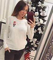 Женский вязаный свитер с шерстью и акрилом 3304218