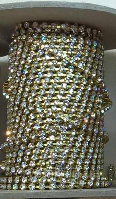 Стразовая цепь Preciosa (Чехия) ss12 Crystal/латунь бобина 50 м