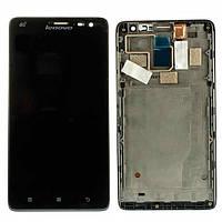 Дисплей (LCD) Lenovo S856 с сенсором черный + рамка