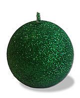 Свеча новогодняя шар большой зелёный с блестками 180 грамм