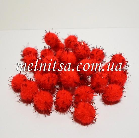 Помпончики, 1,5 см , с люрексом, 25 шт., цвет красный