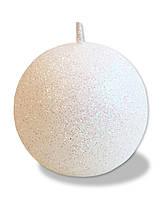 Свеча новогодняя шар большой белый с блестками 180 грамм