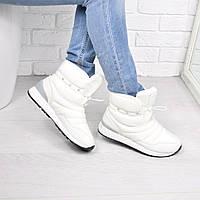 Ботинки женские зимние дутики Rex белые, обувь зимняя