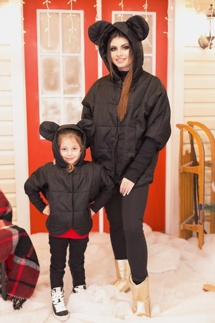 Куртка детская на молнии с забавными ушками на капюшоне, серия Мама и дочка