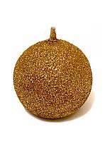 Свеча новогодняя шар большой золото с блестками 180 грамм