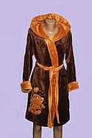 Махровый женский халат M L  Турция  коричневый.