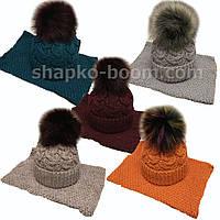 Вязанный зимний набор шапка  на флисе и вязанный хомут оптом Украина