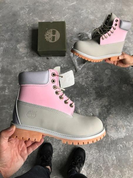 "Женские зимние ботинки Timberland Classіc Boots ""Gray-Pink"" ( в стиле Тимберленд )"