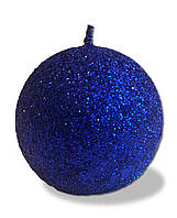 Свеча новогодняя шар большой синий с блестками 180 грамм