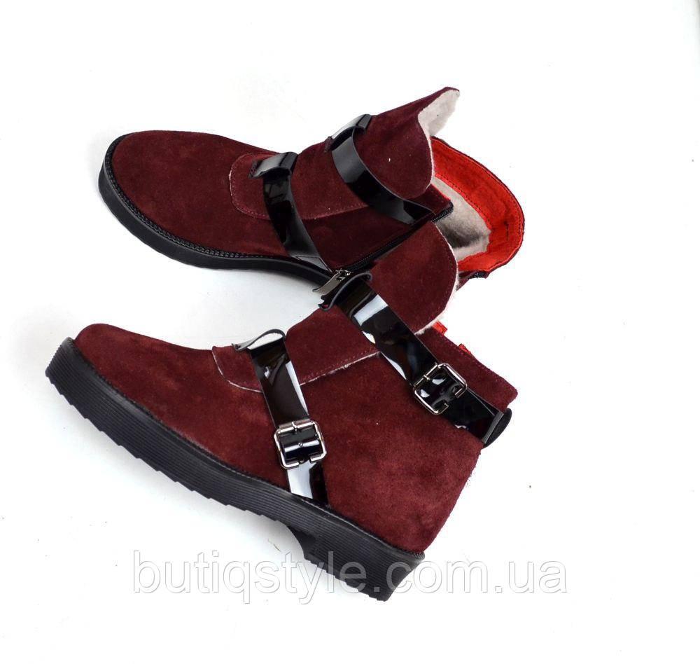 40 размер! Женские зимние ботинки натур замш марсала H=Rmes