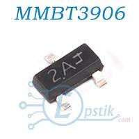 MMBT3906, (2A), транзистор биполярный, PNP 40В 200mA, SOT23