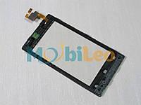 Тачскрин (сенсор, экран) Nokia 520 525 Lumia черный + рамка