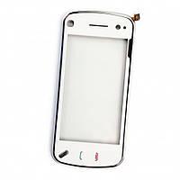 Тачскрин (сенсор, экран) Nokia N97 mini белый оригинал + рамка