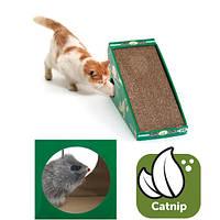 Когтеточка наклонная для кошек с кошачьей мятой и меховой мышкой, 50х21х32 см