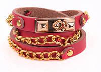 Кожаный браслет с золотыми вставками, бордовый (tb876)