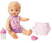 Писающий пупс с голубыми глазами в комплекте с аксессуарами Little Mommy Drink & Wet Doll, Blue Eyes