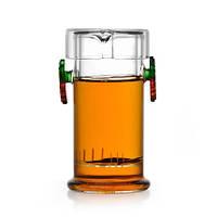 Стеклянная колба для заваривания чая с цветными ручками 210 мл