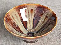Сунская пуэрная пиала (глиняная пиала в глазури с красивым узором) №2