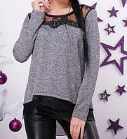 Блуза из ангоры с гипюровой отделкой женская, фото 1