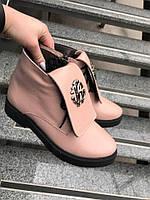 Женские зимние кожаные ботинки ботинки пудра  RoB.Cavali