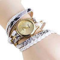 Часы женские на длинном ремешке наматываются на руку Белые