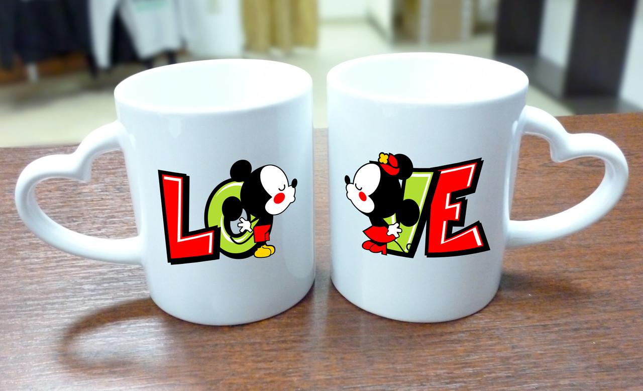 """Парные кружки """"Love Mickey Mouse"""", ручка сердце"""