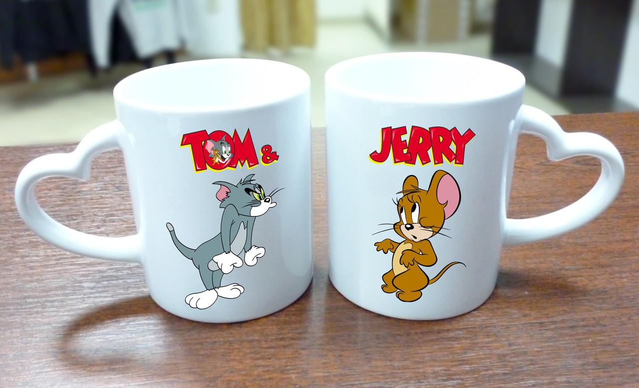 """Парные кружки """"Tom & Jerry"""", ручка сердце"""