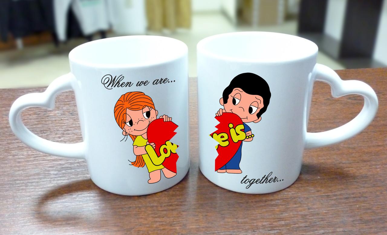 """Парные кружка """"When we are together"""", ручка сердце"""