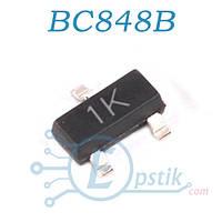 BC848B, (1K), Транзистор биполярный, NPN 30В 100мА 0.31Вт,  SOT23