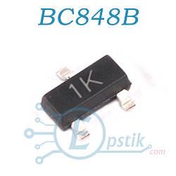 BC848B, (1K), транзистор биполярный NPN, 30В 100мА, SOT23