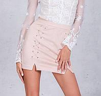 Замшевая юбка высокая талия, фото 1