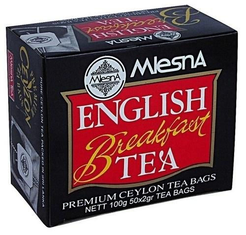 Черный чай Английский завтрак в пакетиках и конвертах Млесна картон 100 г
