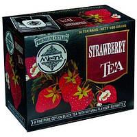 Черный чай Клубника в пакетиках Млесна картон 200 г