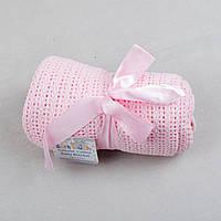 """Детский вязаный плед """"Нежное касание"""" 70×90 розовый плед для девочки хлопковый ажурный летний в коляску"""