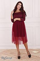 Вечернее платье для беременных и кормления ELEONOR со съемной юбкой из фатина р. 44-50 ТМ Юла Мама бордо DR-47.211