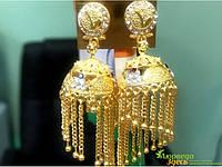 Серьги золотистые колокольчики с цепочками Большие 9809120 д.6см ш:2см, Аюрведа Здесь
