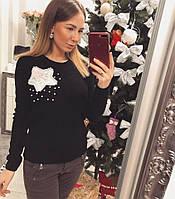 Женский стильный черный свитер/джемпер с украишение
