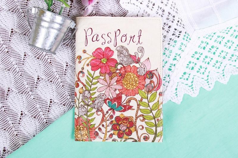 Обкладинка на Паспорт / Пташки в Кольорах / Кожзам