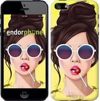 """Чехол на iPhone 5s Девушка с чупа-чупсом """"3979c-21-8079"""""""