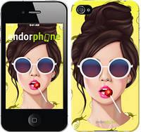 """Чехол на iPhone 4 Девушка с чупа-чупсом """"3979c-15-8079"""""""