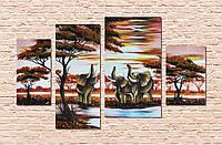 Савана з слонами на полотні висипана бурштином