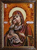 Володимирська ікона Божої Матері з бурштину