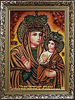 Ікона Божої Матері Зарваницької з бурштину