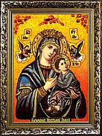 Икона Богоматери Неустанной Помощи из янтаря